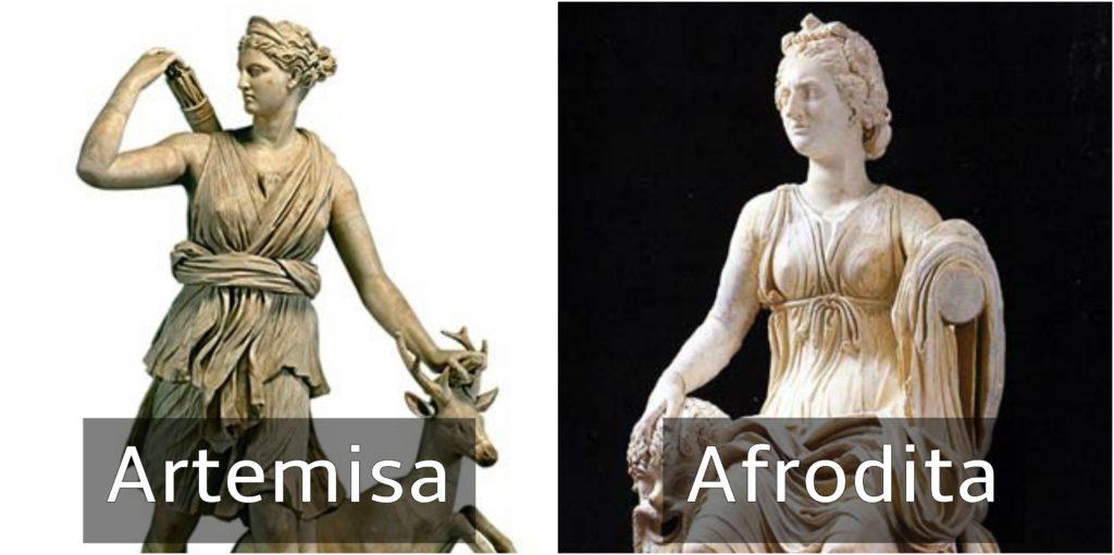 dioses griegos artemisa y afrodita