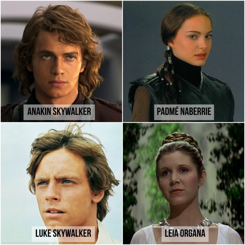 star wars anakin skywalker padmé naberrie luke skywalker leia organa