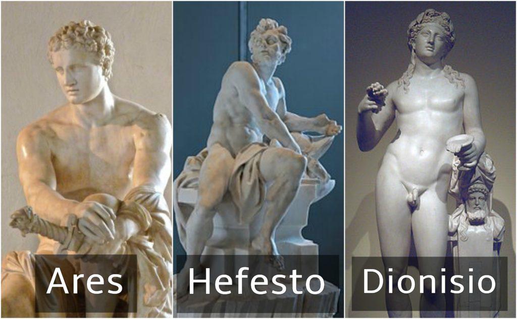 los dioses griegos ares hefesto y dionisio